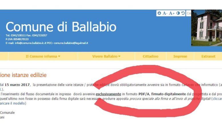 BALLABIO FIRMA DIGITALE UFFICIO TECNICO
