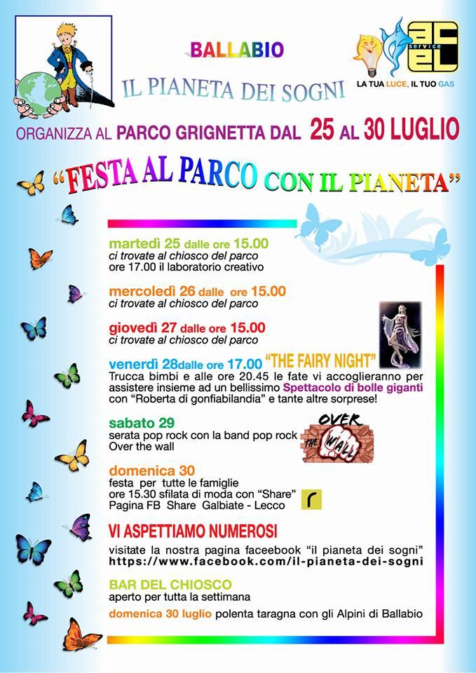 Programma Parco Grignetta 2017 Pianeta dei Sogni estate