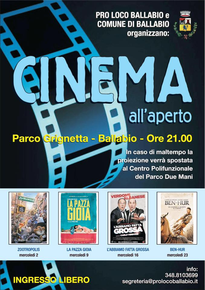 Cinema all'aperto Ballabio 2017