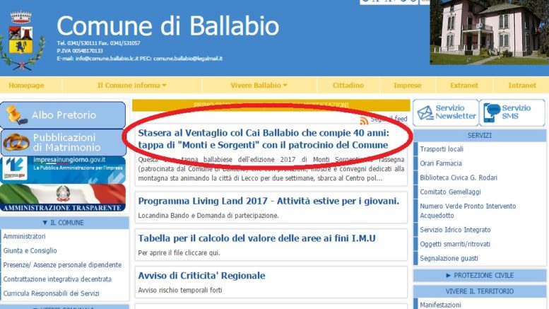 SITO COMUNE BALLABIO SBAGLIO STASERA CAI