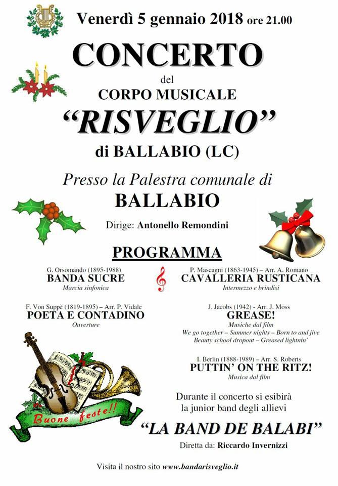 Volantino concerto Capodanno Risveglio Ballabio