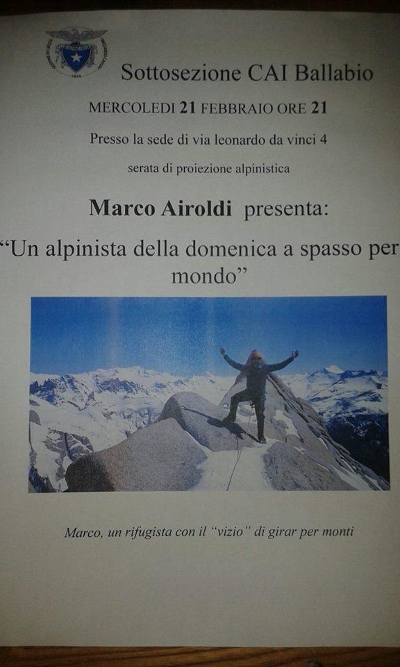 Volantino 21 febbraio - Marco Airoldi - Un alpinista della domenica a spasso mper il mondo