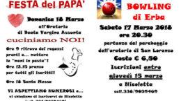 Festa del papa e bowling 18 e 17 marzo 2018
