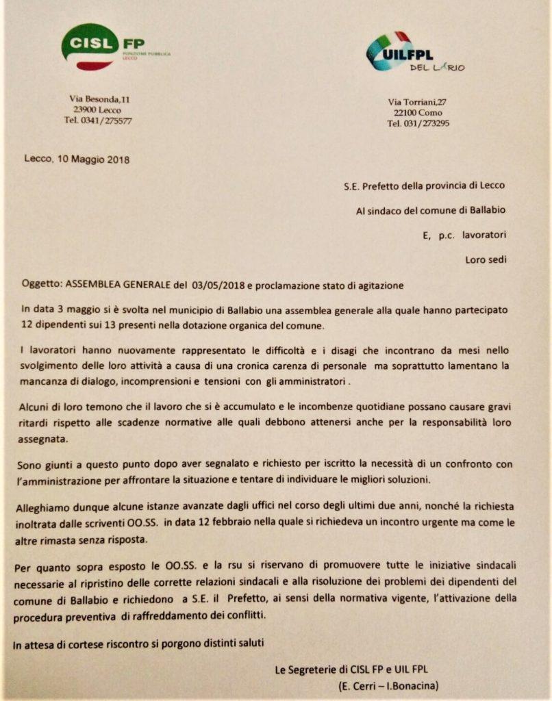 LETTERA SCIOPERO COMUNALI BALLABIO