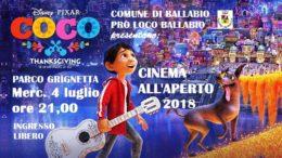 Coco 2 cinema all'aperto Parco grignetta 2018