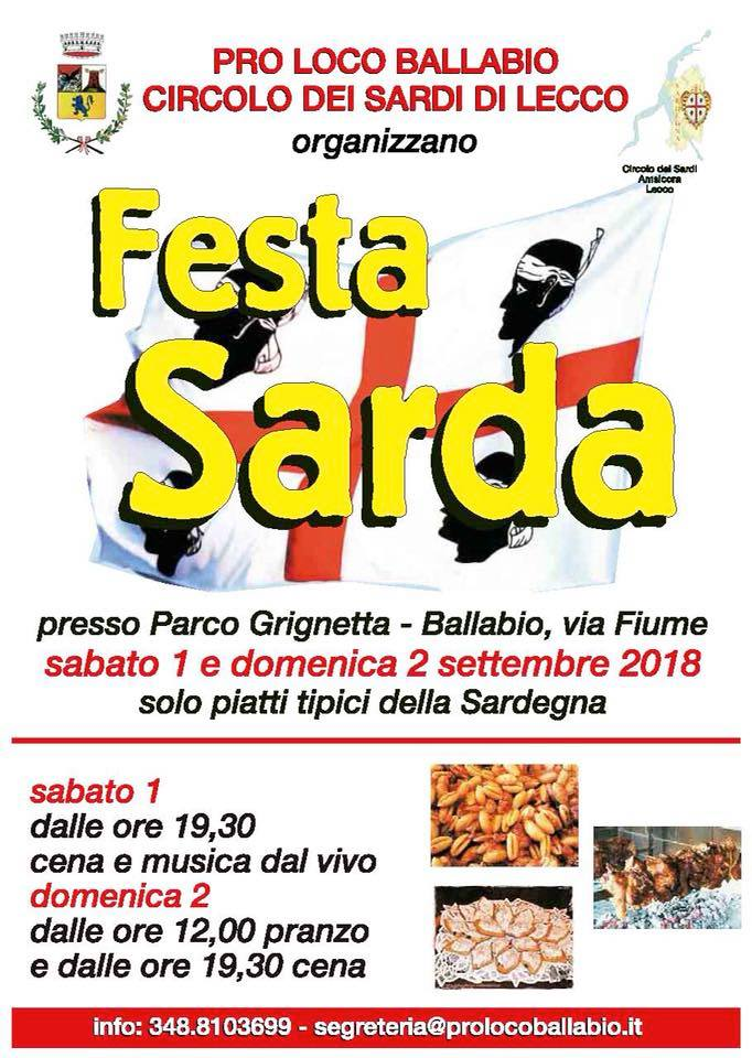 Festa Sarda Pro Loco Ballabio 2018