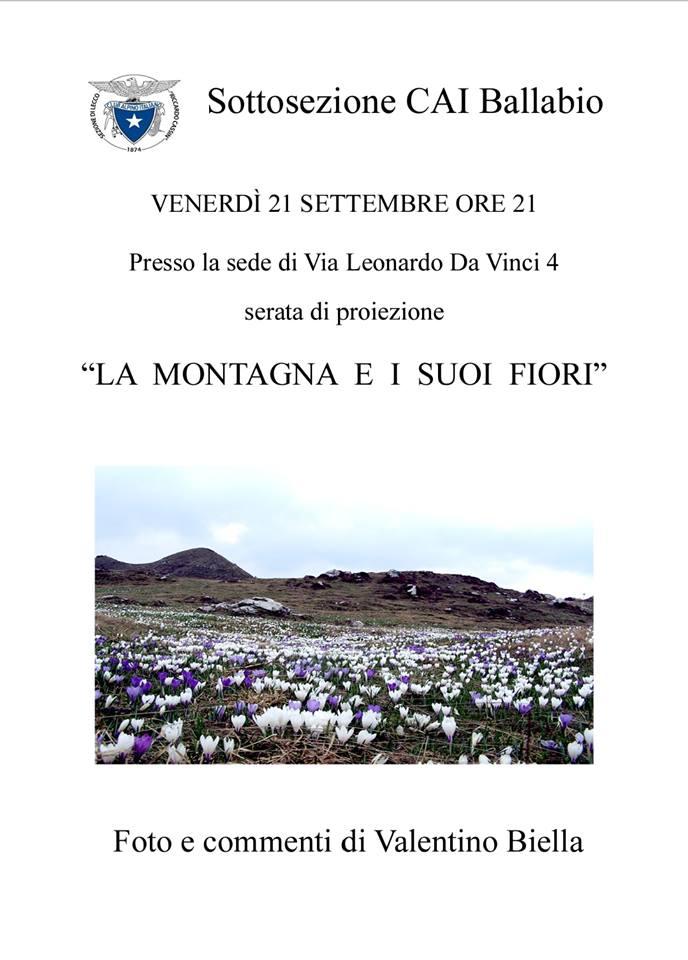 Volantino La montagna e i suoi fiori 2018 CAI Ballabio