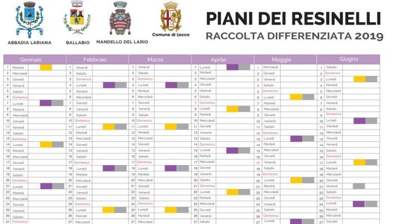 CALENDARIO RACCOLTA DIFF RESINELLI