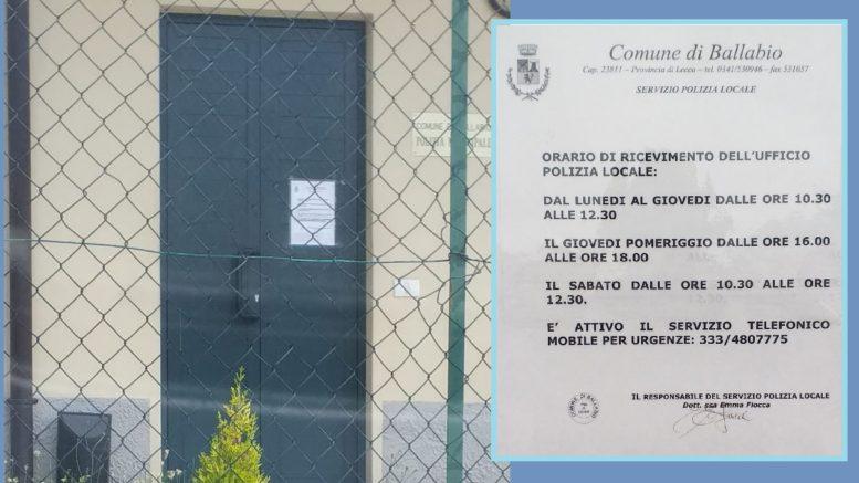 POLIZIA LOCALE BALLABIO CHIUSA E ORARI