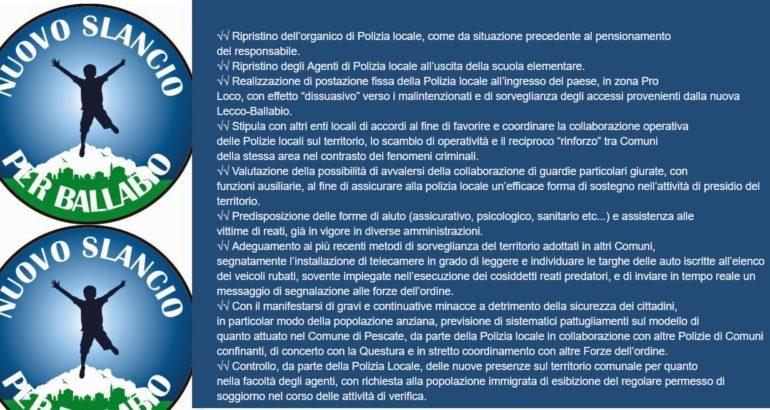 SICUREZZA PROGRAMMA NUOVO SLANCIO x ballabio