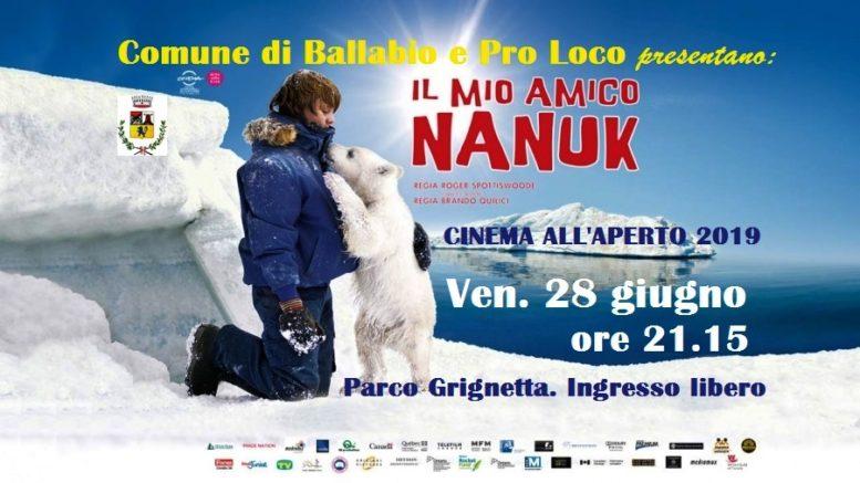 Volantino Nanuk cinema all'aperto 2019 Ballabio