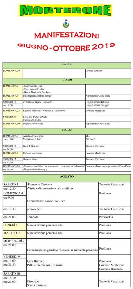 Calendario Eventi 2019 Morterone giugno - ottobre 1