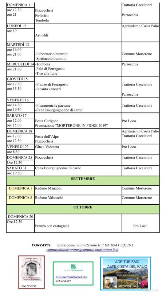 Calendario Eventi 2019 Morterone giugno - ottobre 2