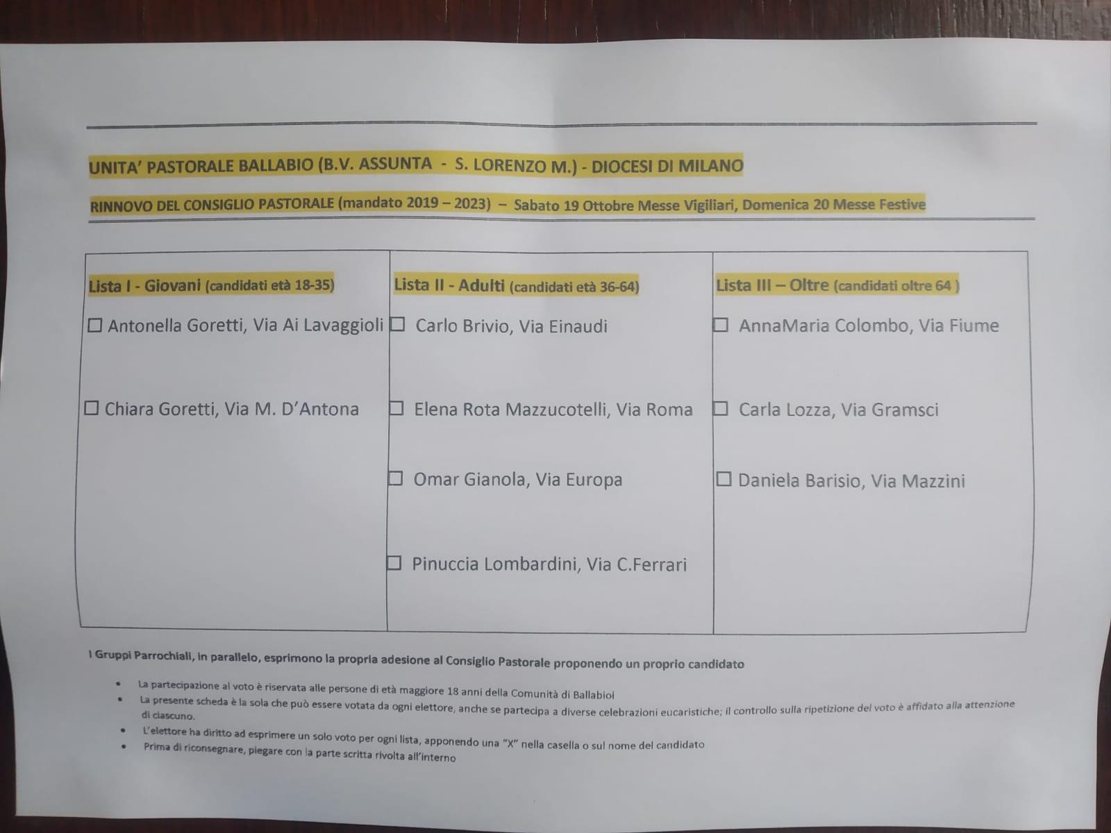 Candidati Consiglio Pastorale 2019