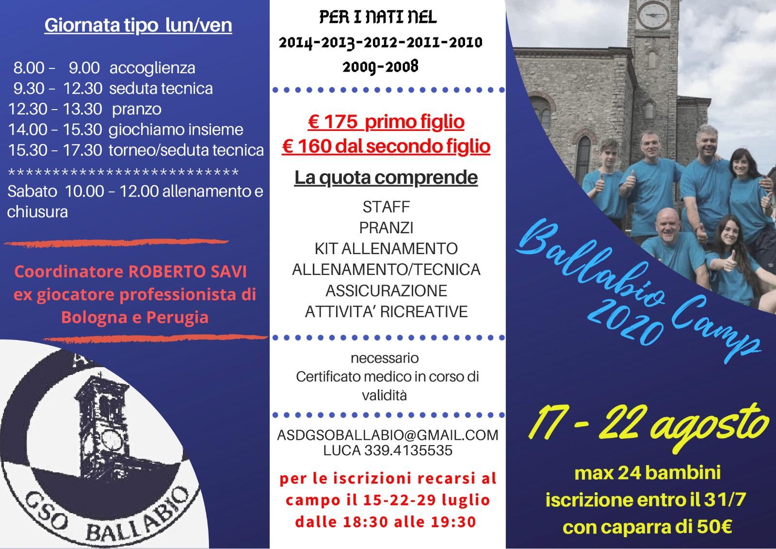 Volantino Ballabio Camp 17 - 22 agosto 2020
