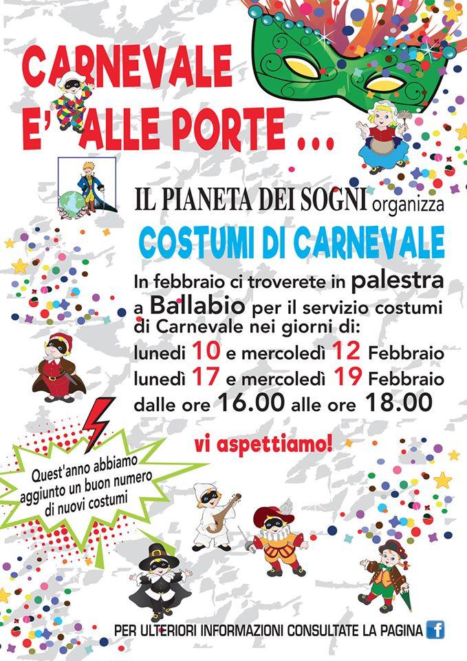 Volantino Pianeta Costumi di Carnevale 2020