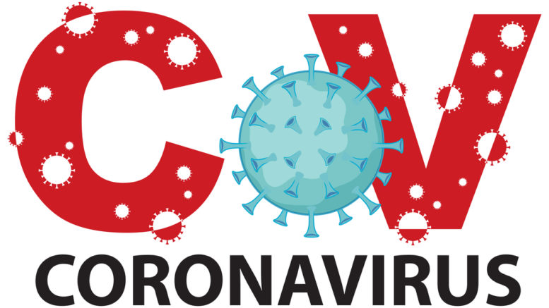 Coronavirus sign template with name and virus cells