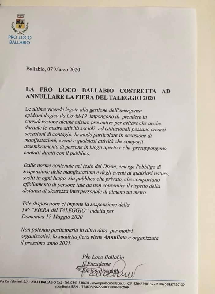 PRO LOCO RINVIO SAGRA TALEGGIO 2020