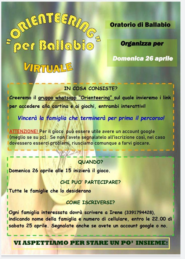 Orienteering per Ballabio virtuale 26 aprile 2020