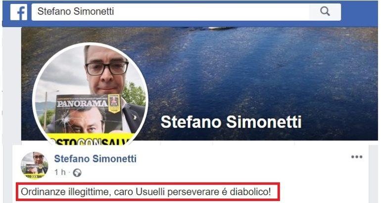 SIMONETTI SU FB CONTRO ORDINANZE SINDACI