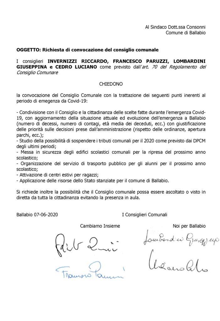 CONSIGLIO BALLABIO RICHIESTA MINORANZE