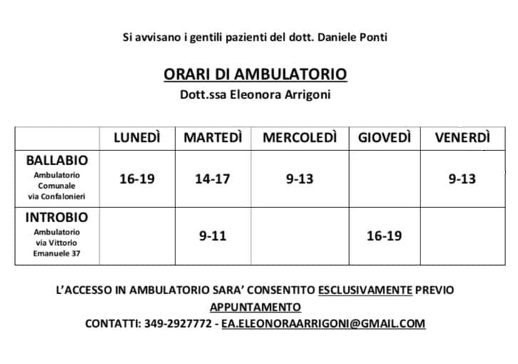 ambulatorio ballabio orari