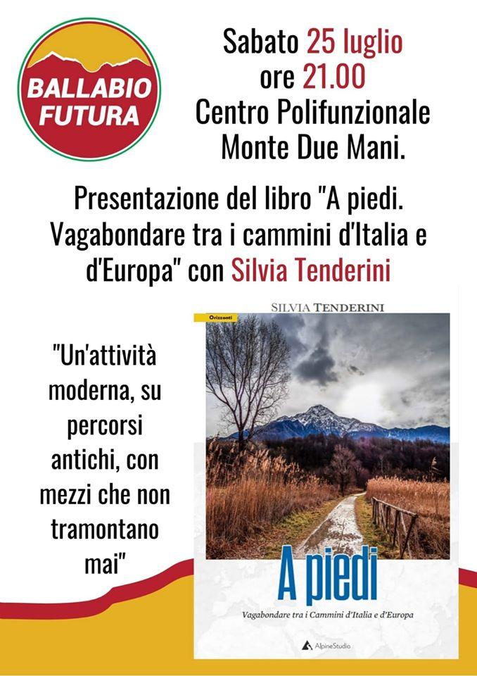 Volantino libro Tenderini A PIEDI 25 Luglio 2020