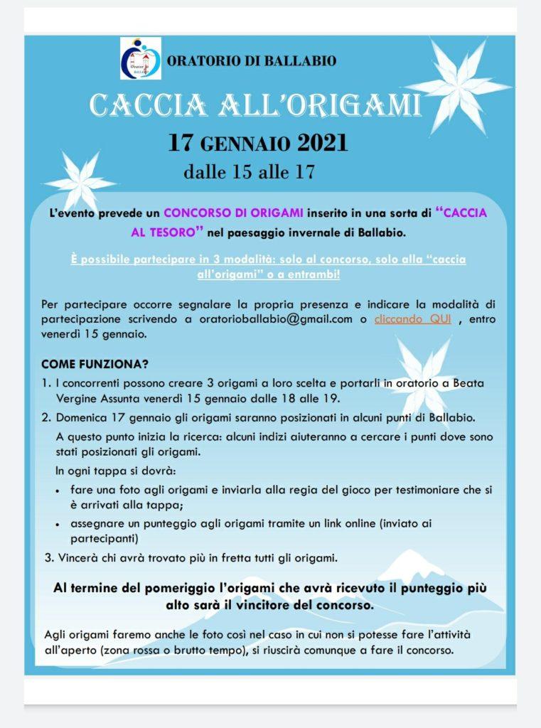 Volantino origami oratorio Ballabio 17 gennaio 2021