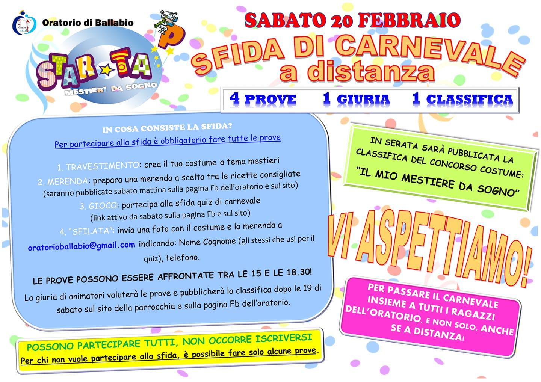 Volantino sfida carnevale oratorio Ballabio 2021